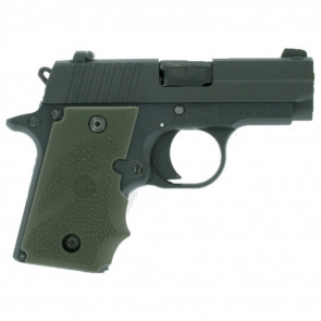 RUBBER WRAPAROUND GRIP WITH FINGER GROOVES - SIG SAUER P238 - OD GREEN