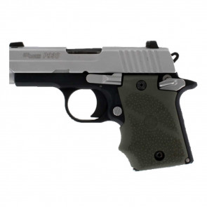 RUBBER WRAPAROUND GRIP WITH FINGER GROOVES AND AMBIDEXTROUS SAFETY - SIG SAUER P938 - OD GREEN