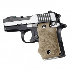 SIG SAUER P938 SAFETY RUBBER GRIP WITH FINGER GROOVES - FLAT DARK EARTH