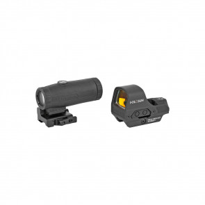 OPEN REFLEX SIGHT AND MAGNIFIER COMBO - BLACK, 2 MOA RED DOT & 65 MOA RING