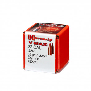 V-MAX BULLETS - 22 CALIBER, .224, 55 GRAIN, 100/BX