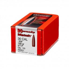 MATCH BULLETS - 30 CALIBER, .308, 168 GRAIN, BTHP, 100/BX