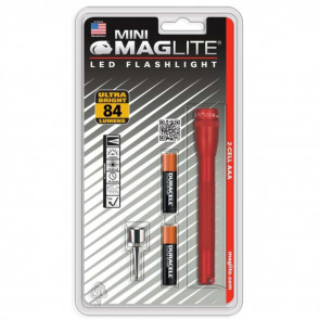 MINI MAGLITE PRO LED 2 AAA FLASHLIGHT - BLISTER PACK - RED