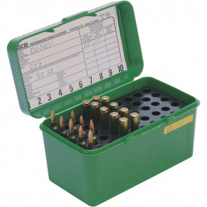 DELUXE H-50 SERIES LARGE RIFLE AMMO BOX - 50 ROUND - GREEN