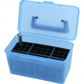 DELUXE H-50 SERIES X-LARGE RIFLE AMMO BOX - 50 ROUND - CLEAR BLUE
