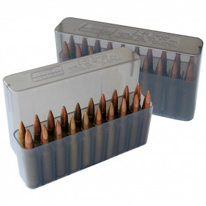 J-20 SERIES LARGE RIFLE AMMO BOX - 20 ROUND - CLEAR SMOKE