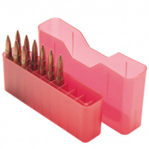 J-20 SERIES SLIP-TOP RIFLE AMMO BOX - 20 ROUND - CLEAR RED