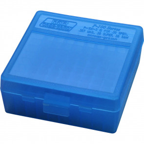 P-100 SERIES MEDIUM HANDGUN AMMO BOX - 100 ROUND - CLEAR BLUE