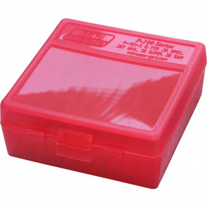 P-100 SERIES MEDIUM HANDGUN AMMO BOX - 100 ROUND - CLEAR RED