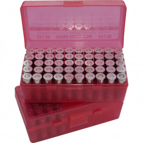 P-50 SERIES LARGE HANDGUN AMMO BOX - 50 ROUND - CLEAR RED