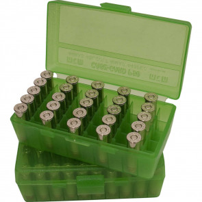 AMMO BOX 50RD FLIP TOP 9MM CLR GRN