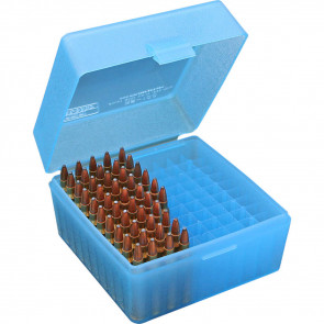RS-100 SERIES SMALL RIFLE AMMO BOX - 100 ROUND - CLEAR BLUE