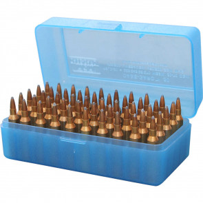 R-50 SERIES FLIP TOP RIFLE AMMO BOX - 50 ROUND - CLEAR BLUE