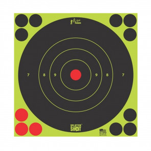 """SPLATTER SHOT 8"""" GREEN BULLSEYE TARGET - 6 PACK"""