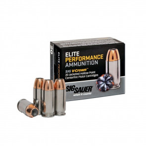 PISTOL V-CROWN ELITE AMMUNITION - 45 AUTO 185 GR, 20 ROUNDS
