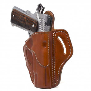 """OPEN TOP MULTI-FIT BELT HOLSTER - CLASSIC BROWN - RIGHT HAND - BROWNING HP, 4"""" AND 5"""" 1911S W/OUT RAILS"""