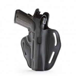 "DUAL-POSITION OWB THUMB BREAK C&L BELT HOLSTER - STEALTH BLACK - RIGHT HAND - BROWNING HP, COLT 1911 5"", KIM 1911 5"", SIG 1911 5"" W/RAIL"