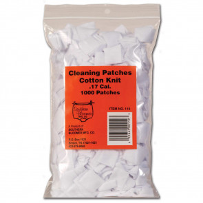 COTTON KNIT CLEANING PATCHES - .17 CALIBER RIFLE, 1000 BULK BAG