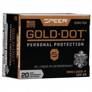 GOLD DOT HANDGUN PERSONAL PROTECTION 9MM LUGER +P