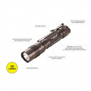 PROTAC 2L-X TACTICAL LIGHT - WITH TWO CR123A LITHIUM BATTERIES - CLAM
