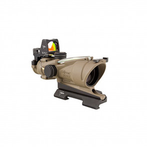 TRIJICON ACOG 4X32 FLAT DARK EARTH SCOPE, DUAL ILLUMINATION GREEN CROSSHAIR RETICLE W/ 3.25 MOA RMR TYPE 2 SIGHT