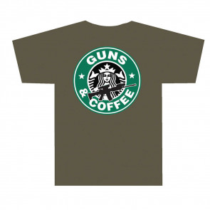 3001 GUNS AND COFFEE T SHIRT - OLIVE DRAB, 2X-LARGE