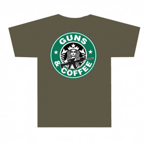 3001 GUNS AND COFFEE T SHIRT - OLIVE DRAB, X-LARGE